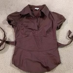 Brown tieback blouse